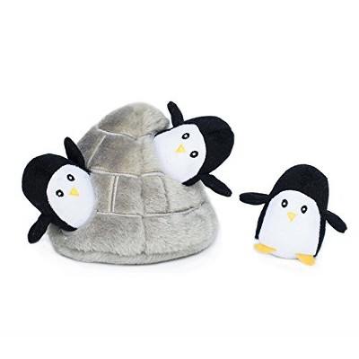 ZippyPaws - Arctic Pals Burrow, Interactive Squeaky Hide and Seek Plush Dog Toy - Penguin Cave