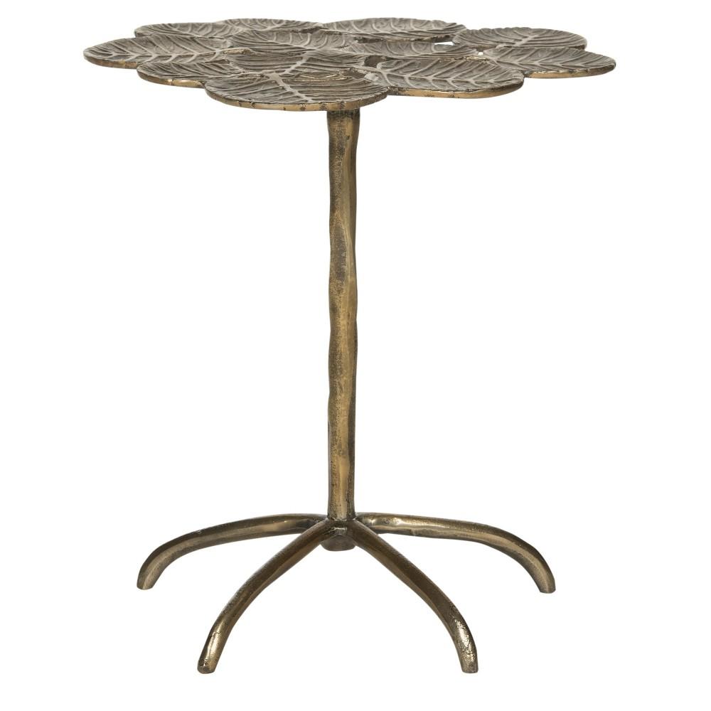 Alene Leaf Side Table - Antique Brass - Safavieh