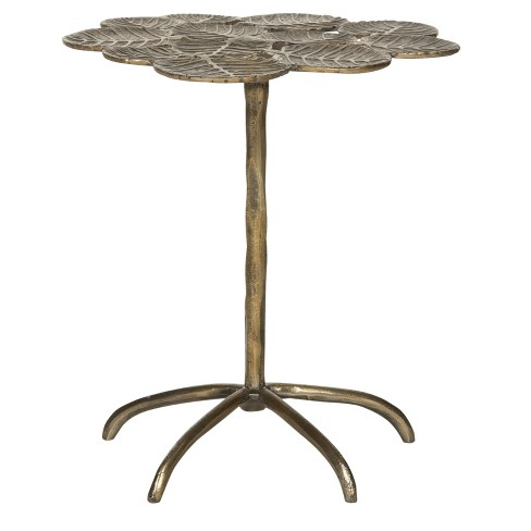 Alene Leaf Side Table Antique Brass Safavieh Target