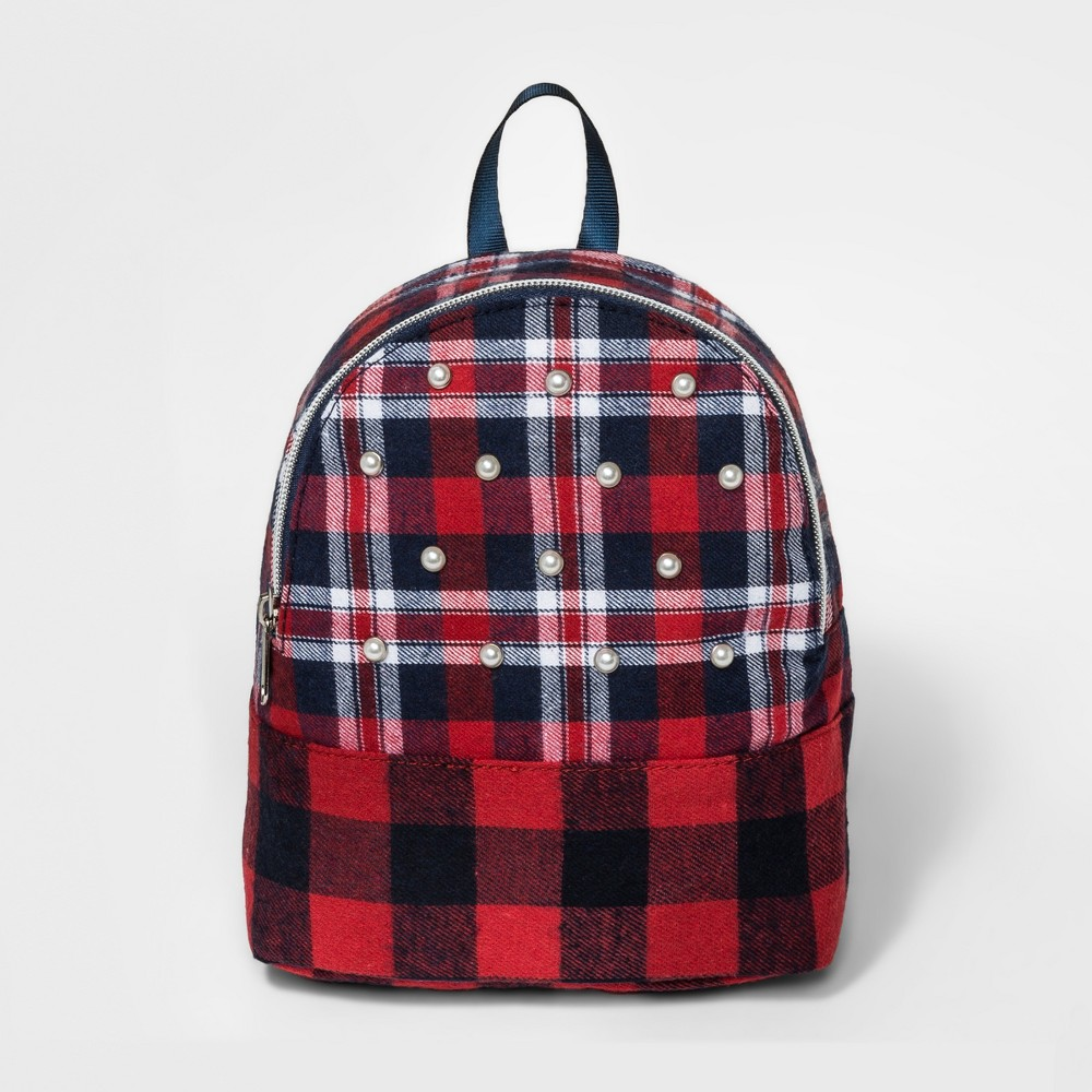 Toddler Girls' Plaid Pearl Backpack - Cat & Jack Red