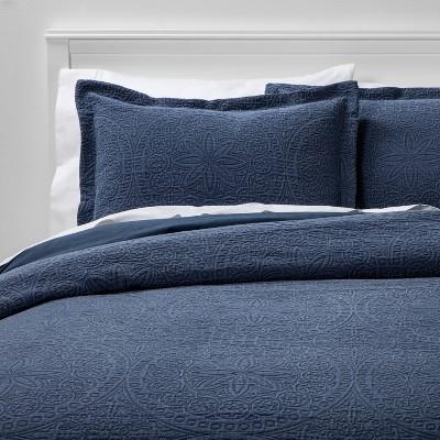 King Matelasse Medallion Comforter & Sham Set Washed Indigo - Threshold™