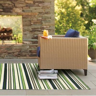 7' x 10' Outdoor Rug Multistripe Green - Threshold™