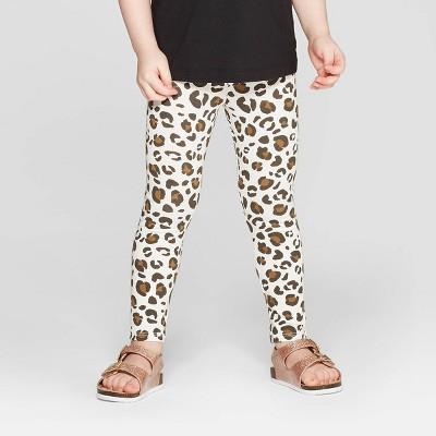 Toddler Girls' Leopard Print Leggings Pants - Cat & Jack™ Cream 12M