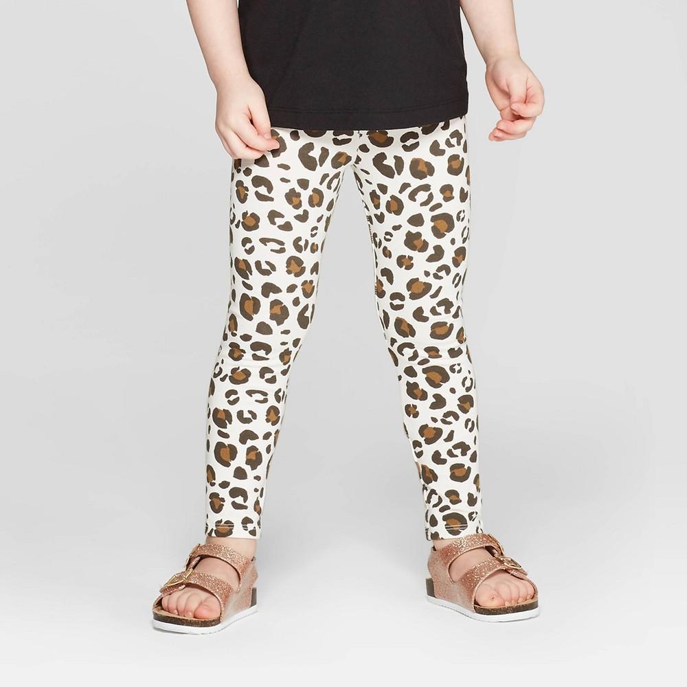 Toddler Girls' Leopard Print Leggings Pants - Cat & Jack Cream 18M, White