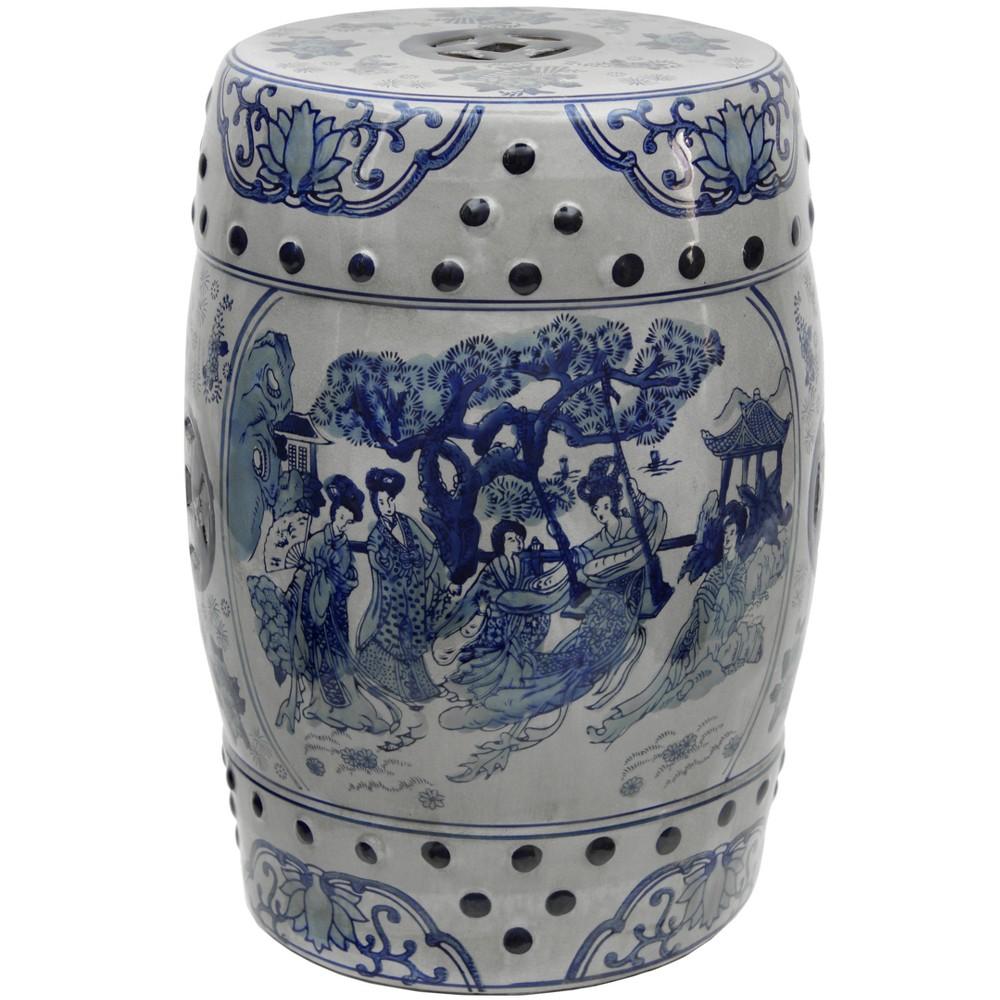 18 Carved Elephant Porcelain Garden Stool - Oriental Furniture, Blue