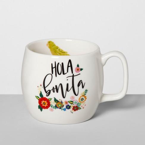 16oz Stoneware Hola Bonita Floral Mug White - Opalhouse™ - image 1 of 1