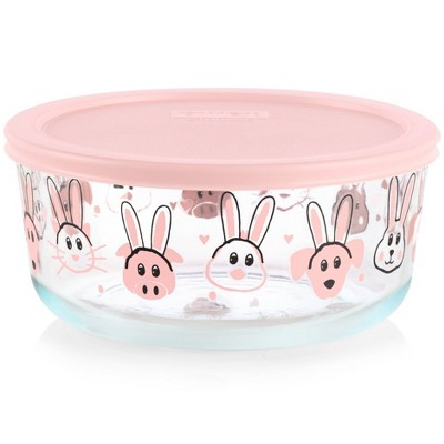 Pyrex 56oz Glass Bunnies Food Storage Container Pink