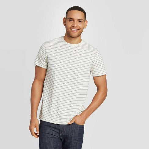 Men's Striped Athletic Fit Short Sleeve Novelty Crew Neck T-Shirt - Goodfellow & Co™ Cream - image 1 of 3