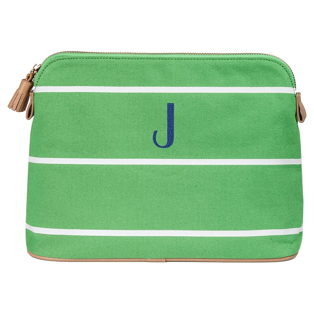Personalized Green Striped Cosmetic Bag - J