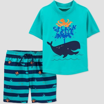 Toddler Boys' Whale Print Short Sleeve Rash Guard Set - Just One You® made by carter's Aqua