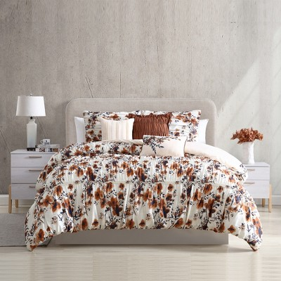 Modern Threads 6-Piece Printed Textured Comforter Set Floral Ridge.