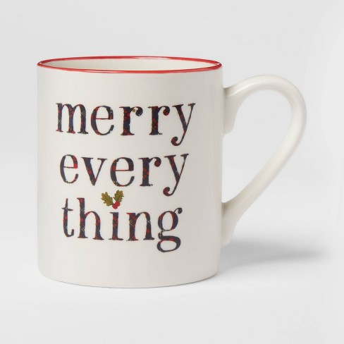 16oz Stoneware Merry Everything Christmas Mug White - Threshold™ - image 1 of 3