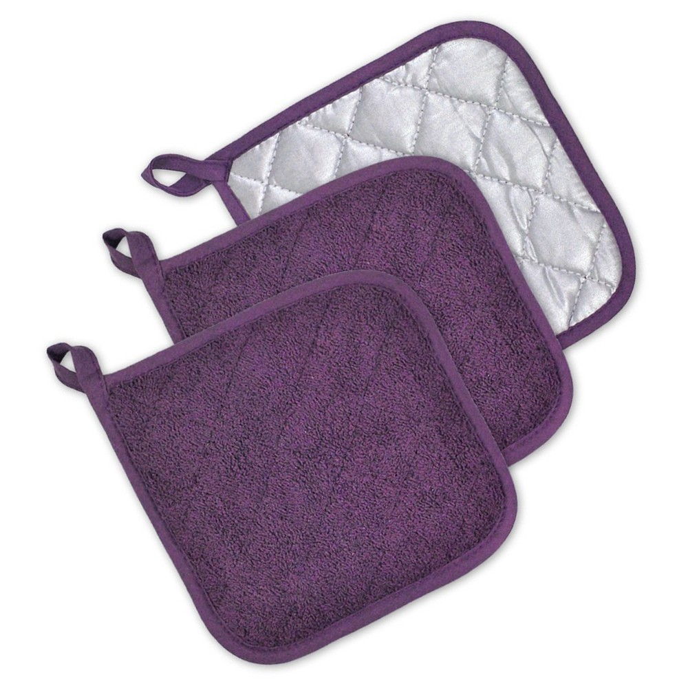 3pk Purple Potholder (7x7) - Design Imports, Eggplant