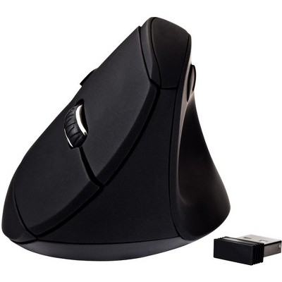 V7 Vertical Ergonomic 6-Button Wireless Optical Mouse - Optical - Wireless - Radio Frequency - Black - USB - 1600 dpi - Scroll Wheel - 6 Button(s)