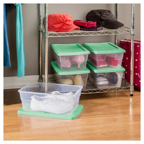 Sterilite5pc Storage Bins Clear with Mint Lid 1.5gal - Room Essentials™ - image 1 of 1
