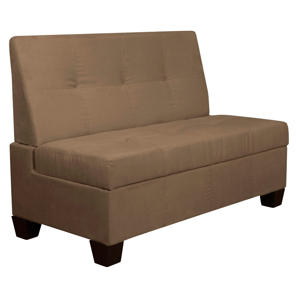 """Image of """"Valet Tufted Padded Hinged Storage Chair - Suede - Epic Furnishings, Size: 48"""""""" Wide, Pecan"""""""