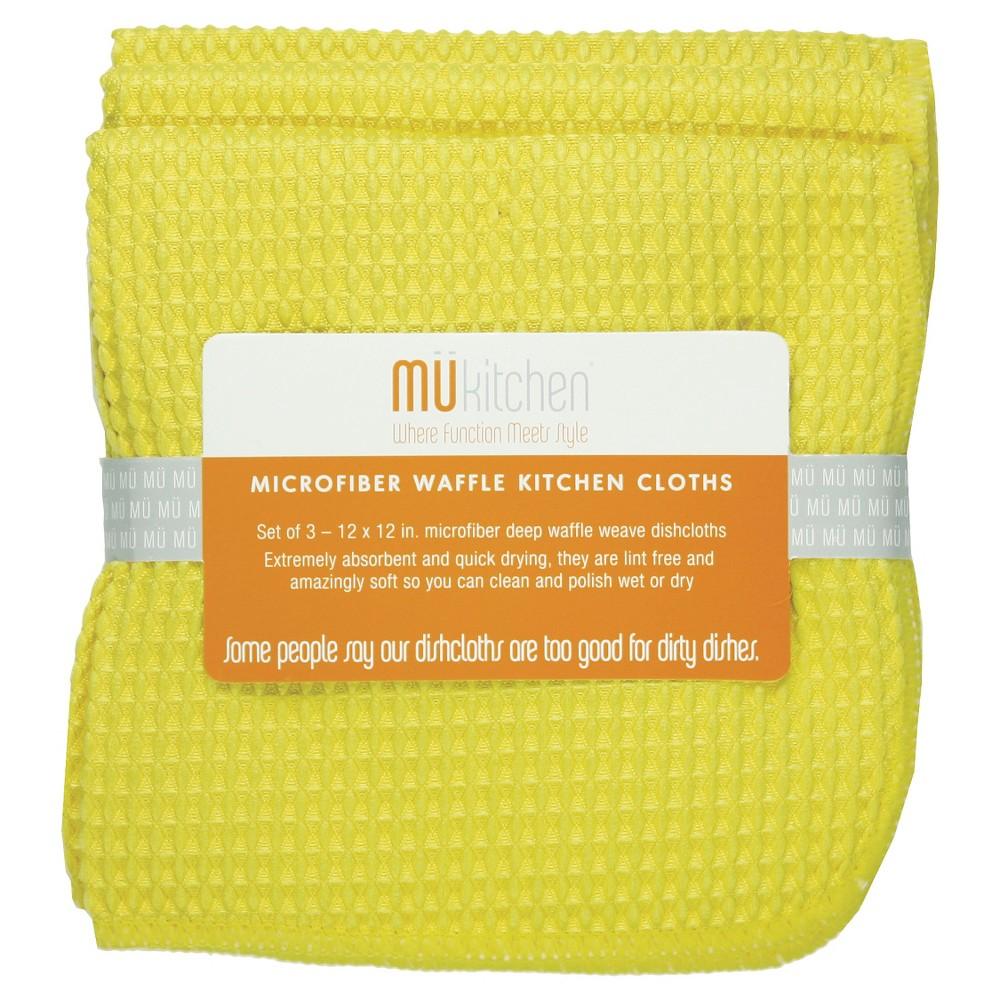 """Image of """"12""""""""X12"""""""" 3pk Waffle Microfiber Cloth Yellow - Mu Kitchen"""""""