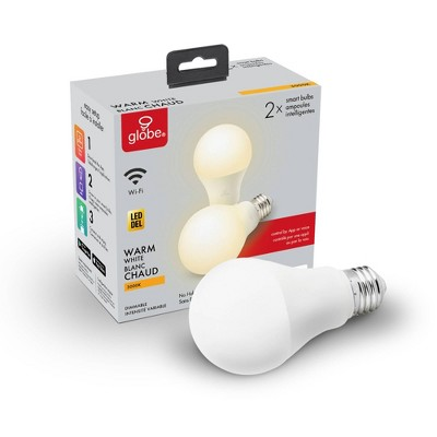 Smart 2pk 60W Equivalent Soft White LED Wi-Fi Enabled Voice Activated A19 E26 Frosted Light Bulb