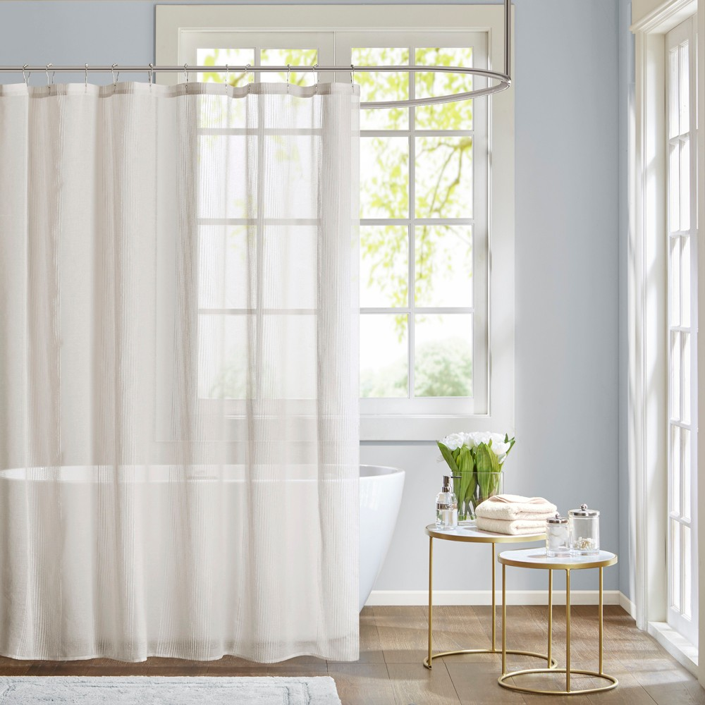 Image of Angie Sheer Shower Curtain White