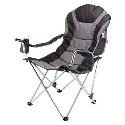 Picnic Time Reclining Camp Chair with Carrying Case - Black/Gray (12.5 Lb)