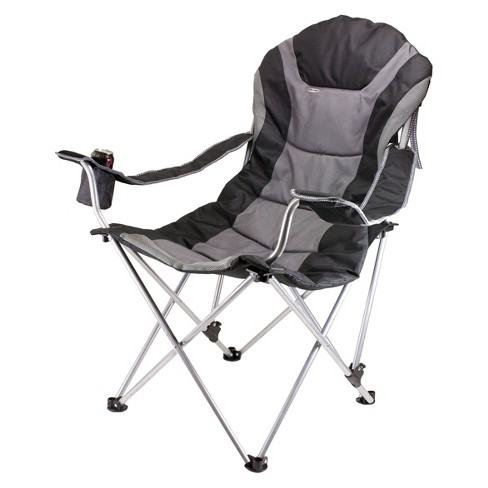 Picnic Time Reclining Camp Chair with Carrying Case - Black/Gray (12.5 Lb) - image 1 of 3