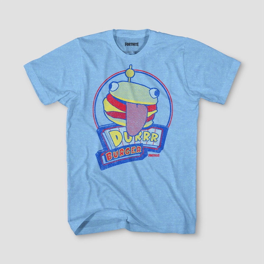 Boys' Fortnite Durrr Burger Short Sleeve T-Shirt - Light Blue Heather Xxl