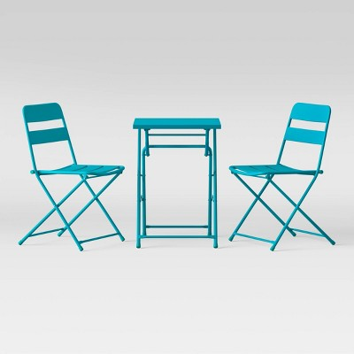 3pc Metal Slat Patio Bistro Set - Aqua - Room Essentials™