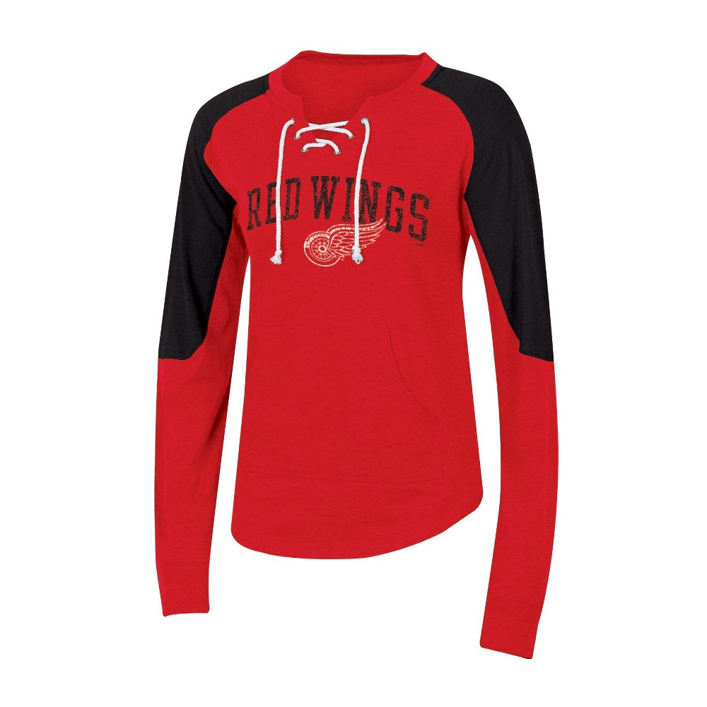 Detroit Red Wings Women's Lace-Up Pullover Sweatshirt S