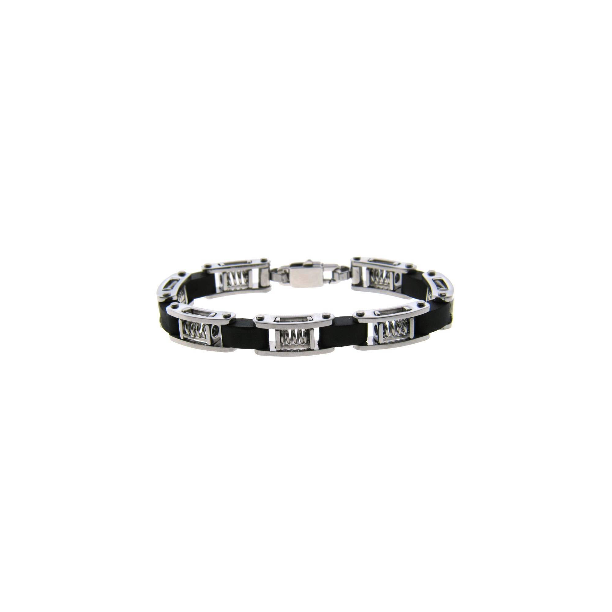 Men's Stainless Steel and Rubber Bracelet with Spring Links - Black, Size: Small, Black/Silver/Silver