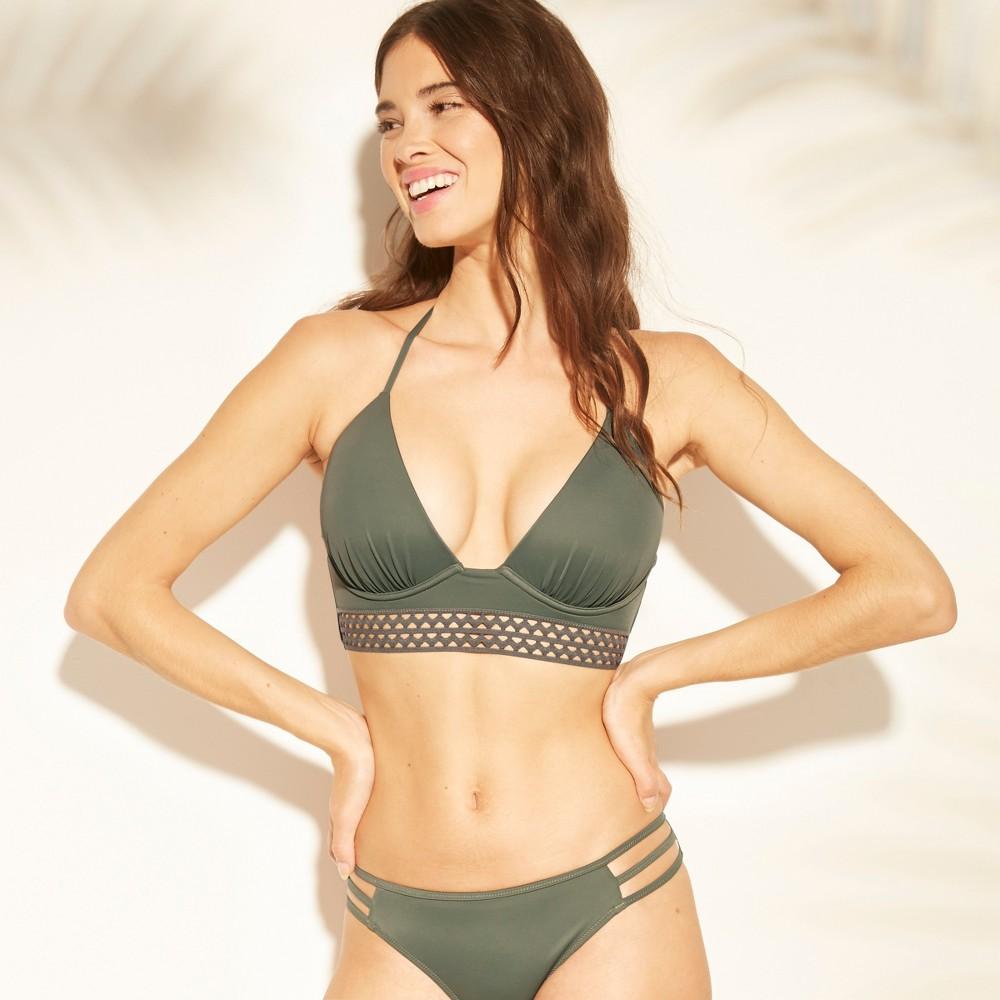 Women's Tropics Light Lift Elastic Trim Triangle Bikini Top - Shade & Shore Army Green 32A