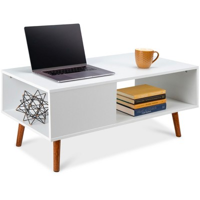 Best Choice Products Wooden Mid-Century Modern Coffee Accent Table Furniture w/ Open Storage Shelf