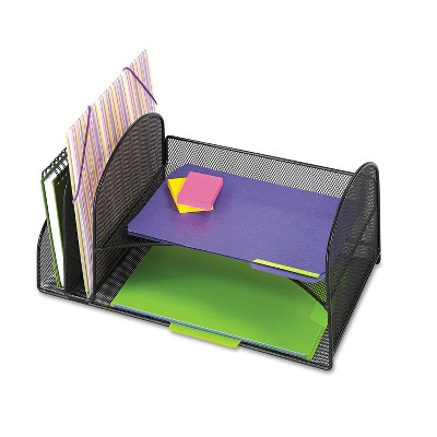 Safco Desk Organizer Two Vertical/Two Horizontal Sections 17 x 10 3/4 x 7 3/4 Black 3264BL