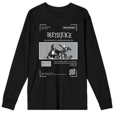 Beetlejuice Classic Movie Monsters Men's Black Long Sleeve Graphic Tee