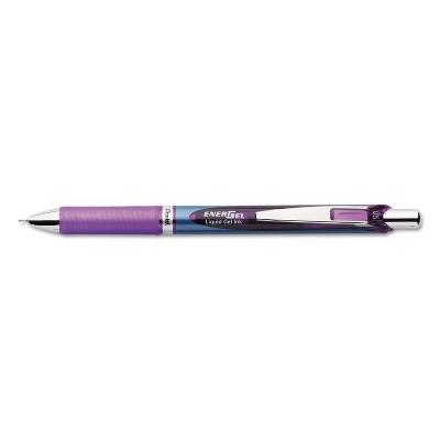 Pentel EnerGel RTX Retractable Liquid Gel Pen .5mm Silver/Violet Barrel Violet Ink BLN75V