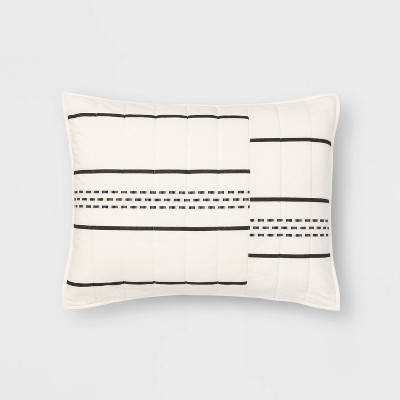 Standard Jacquard Stripe Sham Black/Cream - Project 62™