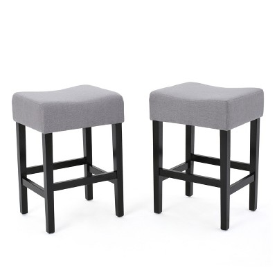 Lopez 26  Fabric Backless Counter Stools - Light Gray (Set of 2)- Christopher Knight Home