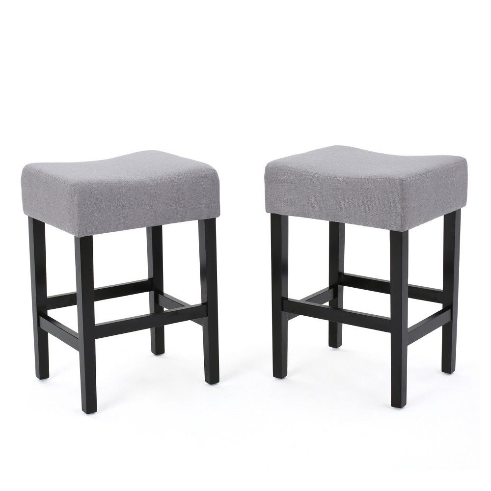 26 Lopez Fabric Backless Counter Stools - Light Gray (Set of 2) - Christopher Knight Home