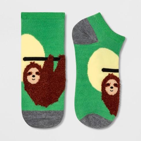 Women's Sloth Low Cut Socks - Xhilaration™ Green One Size - image 1 of 1