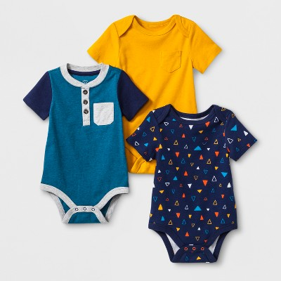 Baby Boys' 3pk Short Sleeve Bodysuits - Cat & Jack™ Navy 3-6M