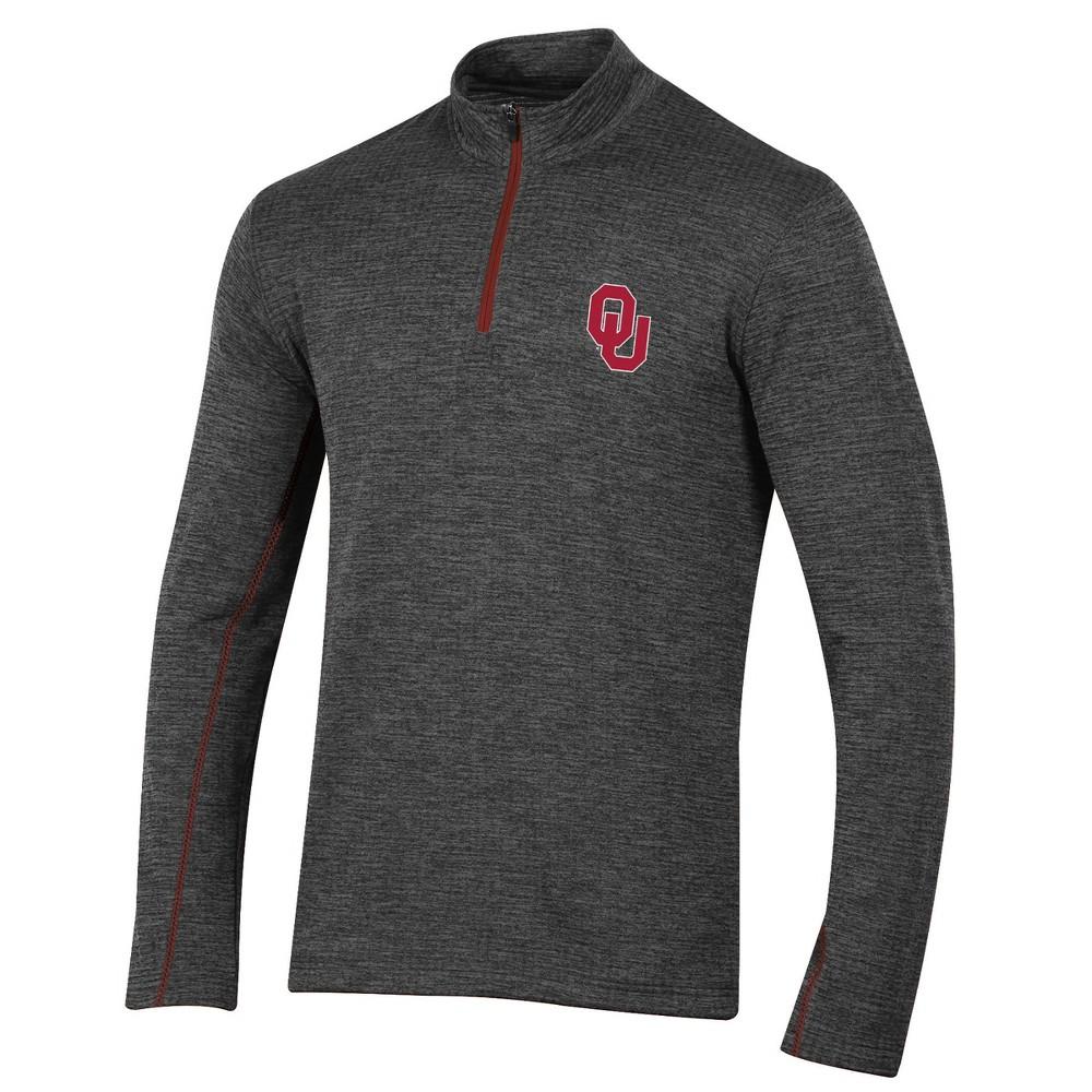Oklahoma Sooners Men's Long Sleeve Digital Textured 1/4 Zip Fleece - Gray S