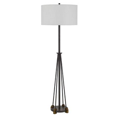 """60.75"""" Metal/Wood Bellewood Floor Lamp with Fabric Drum Shade Textured Bronze - Cal Lighting"""