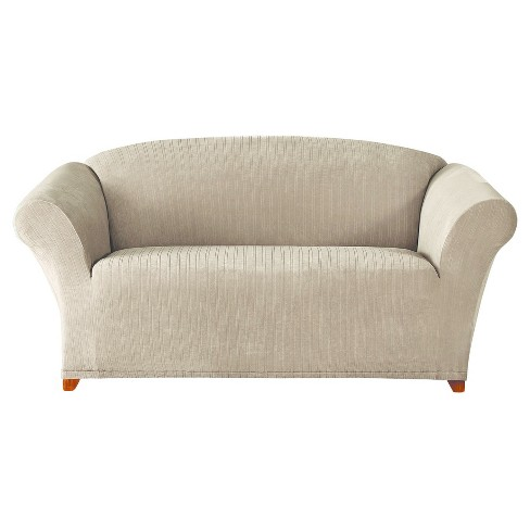 Taupe Stretch Pinstripe Loveseat Slipcover - Sure Fit - image 1 of 3
