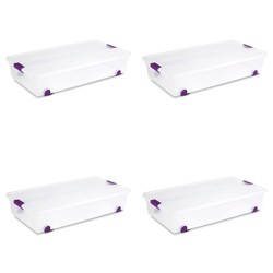 Sterilite 17611704 60 Quart ClearView Latch Lid Wheeled Underbed Box (4 Pack)