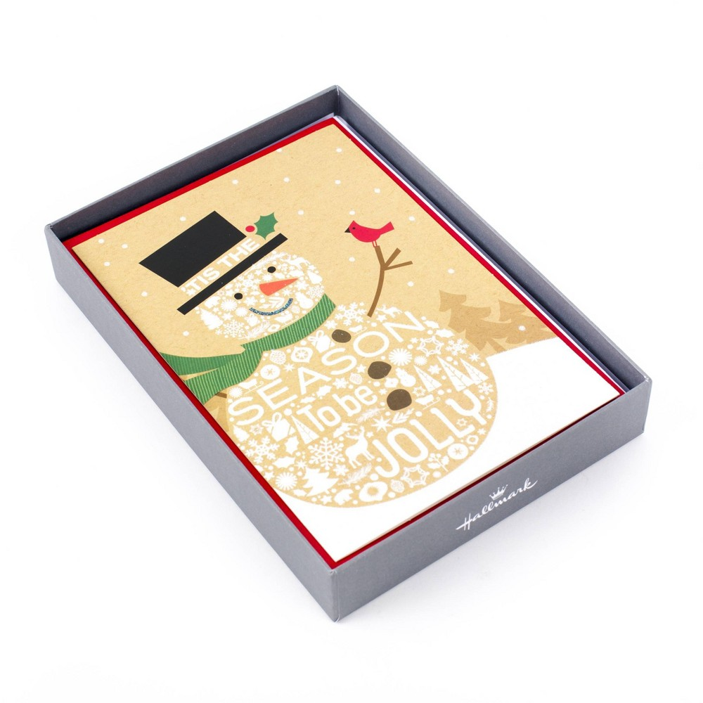 Image of 16ct Hallmark Jolly Snowman Greeting Cards