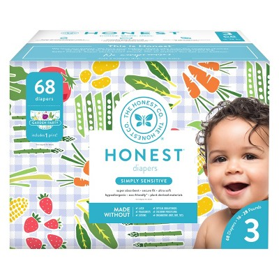 Honest Company Diapers Club Pack, Garden Party - Size 3 (68ct)
