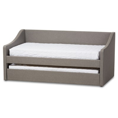 Barnstorm Modern and Contemporary Fabric Upholstered Daybed with Guest Trundle Bed - Twin - Gray - Baxton Studio