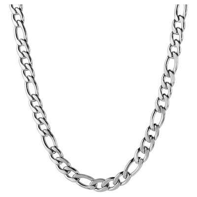 Men's Stainless Steel Figaro Chain Necklace (4.5mm)- Silver (30 )