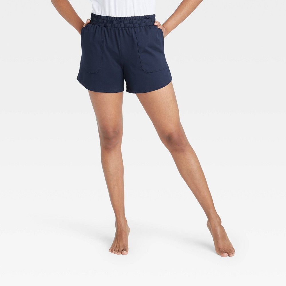 Women 39 S Mid Rise Knit Shorts 5 34 All In Motion 8482 Navy Xs