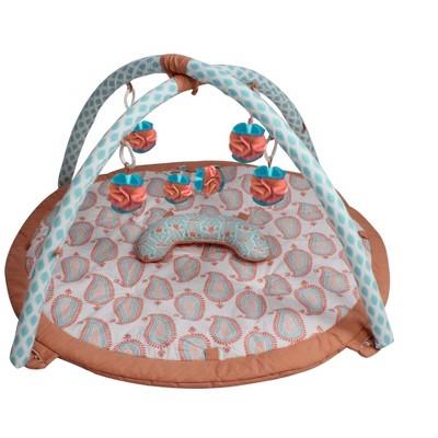 Bacati - Baby Activity Gyms & Playmats (Paisley Isabella, Coral/Aqua)
