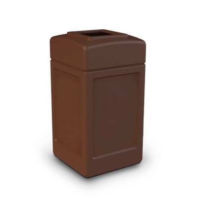 Commercial Zone 732137 Open-Top Square Trash Can Waste Basket Container, Brown